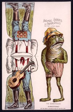 Frog - The Paper Collector: Animal Series of Paper Dolls, c. 1890s at http://thepapercollector.blogspot.com/2012/11/animal-series-of-paper-dolls-c-1890s.html