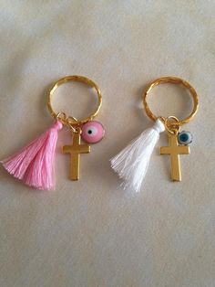 Martyrika Bracelet-Witness Pins- Greek Orthodox Baptism Enamel charms Mati size Key Ring size Tassel pink size Tassel white size Cross charms gold They can also be used as favors Thank you for looking Baptism Favors, Baby Shower Favors, Easy Diy Crafts, Crafts To Make, Baptism Decorations, Birthday Favors, Baby Party, Key Chain, Christening