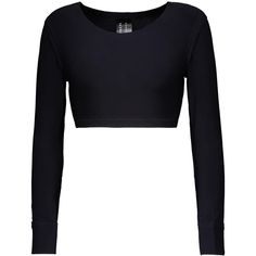 Norma Kamali - Cropped Stretch-jersey Top ($45) ❤ liked on Polyvore featuring tops, midnight blue, white tops, halter neck tops, cut-out crop tops, halter-neck tops and tie halter top