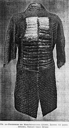 Mamluk mail and plate shirt, 15th century. Mail shirts reinforced with steel or iron plates appear to have been developed first in Iran or Anatolia in the late 14th or early 15th c. Variations of mail-and-plate armor were worn throughout the Middle East by the Persians, Ottomans, and Mamluks. The style probably was introduced into India early in the Mughal period due to Ottoman influence on Mughal military practices.Yushman Mamluk 15th century. Topkapi Saray Museum, Istanbul.