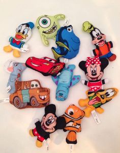 12 Mini Stuffed Disney Characters Cars Monster Inc Nemo Mickey Minnie Remy NEW Disney Plush, Monsters Inc, Cuddle, Stuffed Animals, Snuggles, Pixar, Fun Facts, Beanie, Cars