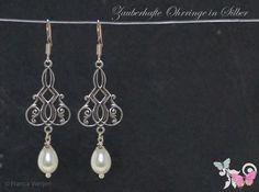 Brautschmuck - Art Deco Ohrhänger Perle Silber weiß crèmeweiß - ein Designerstück von Zauberhafte-Ohrringe-in-Silber bei DaWanda