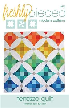 Terrazzo Quilt - This simple but modern take on a classic pattern and puts a fresh twist on the nine patch block with and illusion of curved piecing. Pattern includes options for both paper-piecing and traditional piecing. Finished size x Hanging Quilts, Quilted Wall Hangings, Quilting Tutorials, Quilting Designs, Quilting Patterns, Quilting Ideas, Sewing Tutorials, Modern Quilt Patterns, Block Patterns