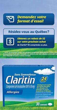 Échantillon ou coupon de Claritin.  http://rienquedugratuit.ca/coupons/ou-echantillon-claritin/