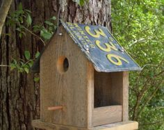 "License Plate Bird Feeder, ""Birdhouse"" Wooden Bird Feeder, License Plate Bird Feeder Custom Crafted with Your License Plate and Barnwood"