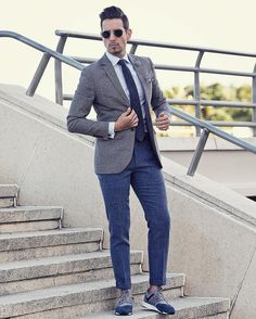 """whatmyboyfriendwore: """" Suits and sneakers for the win! Sunglasses by @rayban Shirt by @tmlewin Tie by @bows_n_ties Blazer by @topman_sa Pants by @riverisland Sneakers by @newbalanceza :..."""