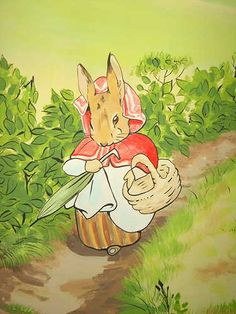 Beatrix Potter Hand Painted Mural Mrs Rabbit
