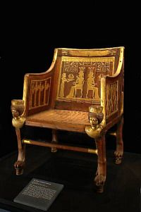 Veneered, Gilded and Silver-Plated   Chair from King Tut's Tomb
