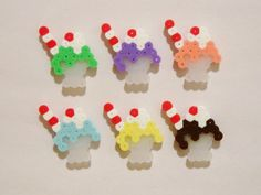6pc Milkshakes Magnet Set with Straws Kawaii Perler Beads by RainbowMoonShop on Etsy