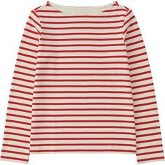 UNIQLO Striped Boat Neck Long Sleeve T-Shirt ($18) ❤ liked on Polyvore featuring tops, t-shirts, boxy tee, striped tee, boatneck tee, long sleeve cotton t shirts and cotton tee