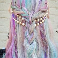 Rainbow Hair Colors Ideas Dyed Hair Dyed Hair Hair - Rainbow Hair Colors Ideas Hair Dye Long Braid Hairstyle With Flowers By Amythemermaidx Purple Violet Red Cherry Pink Bright Hair Green Turquoise Colour Color Coloured Colored Fire Style Curls Ha Pelo Multicolor, Fantasy Hair, Unicorn Fantasy, Coloured Hair, Dream Hair, Crazy Hair, Cool Hair Color, Pretty Hairstyles, Mermaid Hairstyles