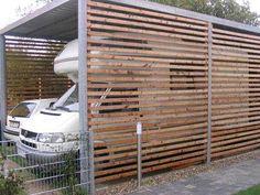 Balkon carport: galvanized steel outer frame, lark wood battens The Origin Of Grandfather Clocks Art
