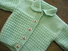 Cardigan can be knit with or without mock pocket flaps to look more like a jacket. Cardigan has a collar, pullover sweater has a round neck.