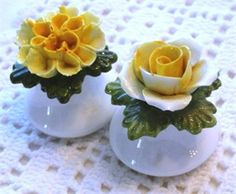 English Fine Bone China Salt & Pepper Shakers | Mary's Cottage Treasures
