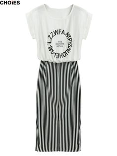 Women 2 in 1 One-piece Letter Print Striped Blouse Dress Midi Long Short Sleeve Bodycon Dress Summer New In Stock