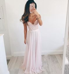 Pink sweetheart prom dress,A-line lace long prom dresses,formal dresses,evening dresses from Upromdress