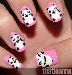 33 Panda Nail Art Can You Try for Your Daughters Nails - Fashionmgz Panda Bear Nails, Panda Nail Art, Penguin Nail Art, Animal Nail Art, Pink Panda, Love Nails, Pretty Nails, Fun Nails, Crazy Nails