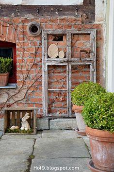 Osterdeko Natur, Holzeier, Tonkrüge, Tontöpfe, DIY Holzeier, Osterdekoration, alte Holzkiste, Holzkasten, Dekoration aus Rost