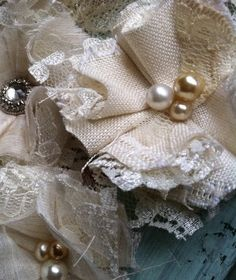 Linen and Lace Wedding Decorations - Linen Flowers - Vintage Inspired - Handmade Wedding Flowers Shabby Chic Flowers, Lace Flowers, Vintage Flowers, Fabric Flowers, Wedding Flowers, Headband Flowers, Bouquet Flowers, Wedding Wishes, Our Wedding