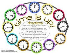 Time is Up telling time game :: *Bunting, Books, and Bainbridge*: Math, Math, Math. and a revised freebie! Teaching Time, Teaching Math, Teaching Ideas, Math Classroom, Kindergarten Math, Classroom Ideas, Preschool, Math Resources, Math Activities
