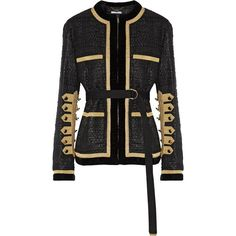 GIVENCHY Velvet and metallic grosgrain-trimmed tweed jacket (£1,860) ❤ liked on Polyvore featuring outerwear, jackets, eyelet jacket, embellished jackets, velvet jacket, givenchy jacket and embellished waist belt