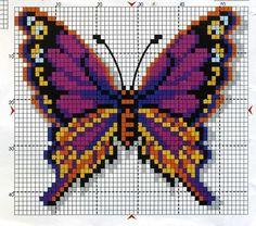 Butterfly cross stitch and chart. Fuse Bead Patterns, Perler Patterns, Beading Patterns, Cross Stitch Charts, Cross Stitch Designs, Cross Stitch Patterns, Butterfly Cross Stitch, Butterfly Pattern, Cross Stitching