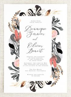 Your guests will fall in love with this modern wedding invitation suite from our Dominique collection! This design features watercolor floral artwork in shades of blush and salmon pink, grey, black, and white with calligraphy and a classic font in black against a white background. #weddinginvitationsclassicmodern