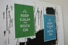 Rock n Roll Themed First Birthday Party décor.  Keep Calm and Rock On posters in the party's color scheme lined the walls.  More party planning photos and information at www.fabeveryday.com.
