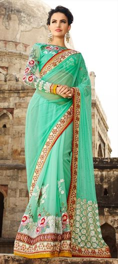 The #color to Fall in #love with, this season! #turquoise 180743 Green  color family Bridal Wedding Sarees in Faux Georgette