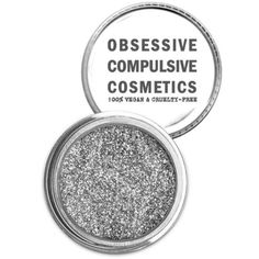 Obsessive Compulsive Cosmetics Silver Cosmetic Glitter Powder ($15) ❤ liked on Polyvore featuring beauty products, makeup, face makeup, face powder, beauty, eyes and silver