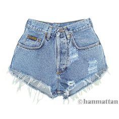 "ALL SIZES ""PLAINO"" Vintage Levi high-waisted denim shorts blue... ($26) ❤ liked on Polyvore"