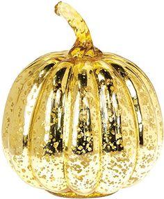 a50f0e3cefdf Luna Bazaar Vintage Mercury Glass Pumpkin Figurine 7Inch Gold     You can  get additional
