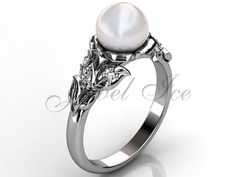 14k white gold pearl diamond unusual unique floral by Jewelice