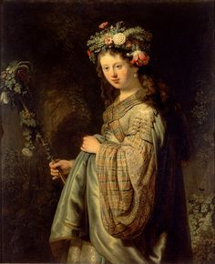 Rembrandt Van Rijn Saskia as Flora, , The Hermitage, St. Read more about the symbolism and interpretation of Saskia as Flora by Rembrandt Van Rijn. Rembrandt Art, Rembrandt Paintings, Rembrandt Portrait, Caravaggio, Leiden, Framed Art Prints, Painting Prints, Hermitage Museum, Dutch Golden Age