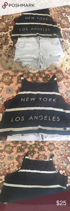 New York Los Angeles Brandy Melville crop tank Super cute ! Only selling because I'm moving Brandy Melville Tops Crop Tops