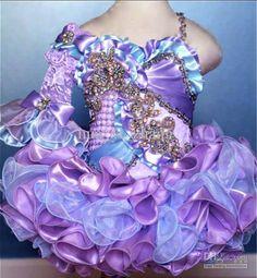 2013 Cute Purple Blue Cupcake Little Girl Pageant Dresses Rhinestones Beaded GD04 2013 buy 1 get 2