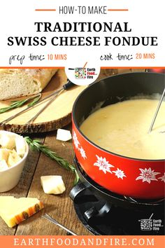 Learn how to make a real Swiss Cheese Fondue from scratch. Cheese fondue makes a great party food, or warm appetizer on a cold evening. Include this Thanksgiving appetizer recipe in your holiday dinner menu! | how to make swiss cheese fondue Fondue Recipes, Appetizer Recipes, Snack Recipes, Healthy Recipes, Cookie Recipes, Snacks, Best Christmas Dinner Recipes, Holiday Dinner, Cookies