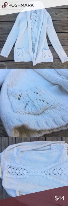 NWOT MAX STUDIO WHITE SWEATER Crocheted white sweater. No flaws. Purchased too small. Max Studio Sweaters