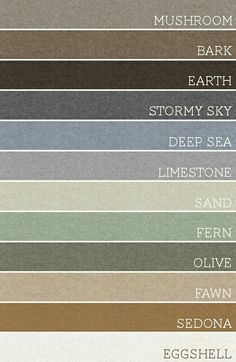 Bark, Earth, Sand, Fern, Olive, Fawn, Sedona are all suitable colors for shirts, ties, pants, etc.