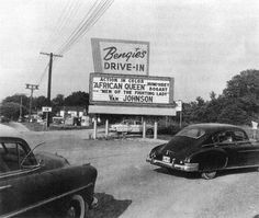 The whole family would go to a drive-in for entertainment on the weekends.