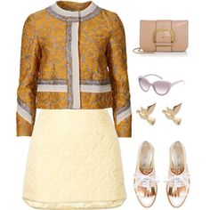 Goldish by valeria-verde on Polyvore featuring polyvore, fashion, style, Miu Miu, Oscar de la Renta, STELLA McCARTNEY and M&Co
