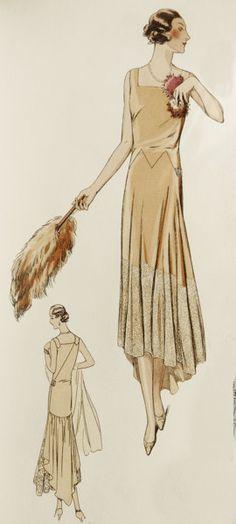 Elegant 1920s dress sewing pattern. Elegant by ContrapuntPatterns