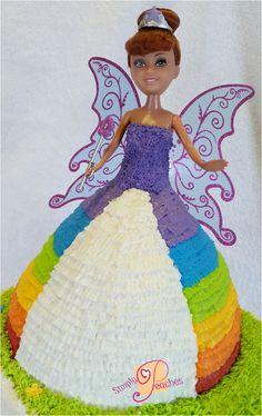 Rainbow doll cake