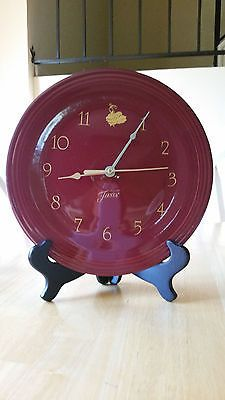 Fiesta® Dinnerware Wall Clock in Cinnabar (retired) made by Homer Laughlin China Company | Criffer Auctions