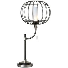 Pacific Coast Aviary Wire Cage Table Lamp (1.000 DKK) ❤ liked on Polyvore featuring home, lighting, table lamps, grey, wire lights, gray shades, bird cage table lamp, coast lamp and grey shades