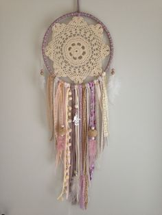 Te koop op www. Crochet Wall Art, Crochet Wall Hangings, Lace Dream Catchers, Dream Catcher Craft, Boho Wall Hanging, Boho Room, Crochet Tablecloth, Macrame Patterns, Antique Lace