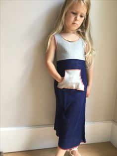 Girls grey and navy pocket maxi Apron, Pocket, Navy, Girls, Fashion, Hale Navy, Moda, Daughters, Fashion Styles
