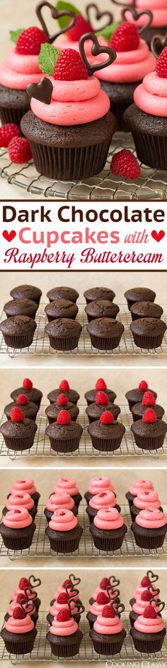 Dark Chocolate Cupcakes with Raspberry Buttercream Frosting - these are so decadently DELICIOUS! The ultimate Valentines Day cupcake! Love that the frosting is naturally pink and has a wonderful fresh raspberry flavor. | Posted By: DebbieNet.com