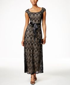 R & M Richards Petite Cap-Sleeve Lace Gown