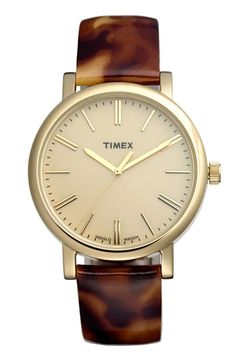 Timex Round Patent Leather Strap Watch, 38mm